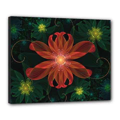 Beautiful Red Passion Flower In A Fractal Jungle Canvas 20  X 16  by jayaprime