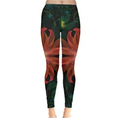Beautiful Red Passion Flower In A Fractal Jungle Leggings  by beautifulfractals