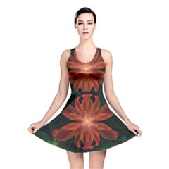 Beautiful Red Passion Flower In A Fractal Jungle Reversible Skater Dress by jayaprime