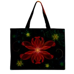 Beautiful Red Passion Flower In A Fractal Jungle Zipper Mini Tote Bag by beautifulfractals