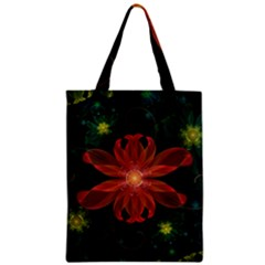 Beautiful Red Passion Flower In A Fractal Jungle Zipper Classic Tote Bag by jayaprime