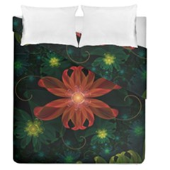 Beautiful Red Passion Flower In A Fractal Jungle Duvet Cover Double Side (queen Size) by beautifulfractals