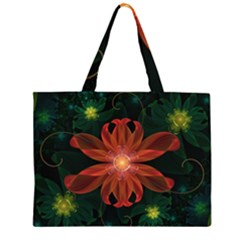 Beautiful Red Passion Flower In A Fractal Jungle Zipper Large Tote Bag by beautifulfractals