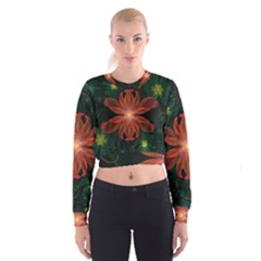 Beautiful Red Passion Flower In A Fractal Jungle Cropped Sweatshirt by beautifulfractals