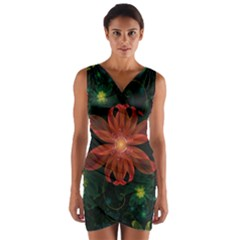Beautiful Red Passion Flower In A Fractal Jungle Wrap Front Bodycon Dress by beautifulfractals