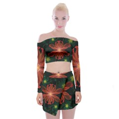 Beautiful Red Passion Flower In A Fractal Jungle Off Shoulder Top With Skirt Set by beautifulfractals