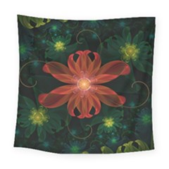 Beautiful Red Passion Flower In A Fractal Jungle Square Tapestry (large) by jayaprime