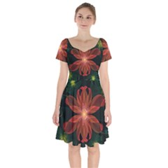 Beautiful Red Passion Flower In A Fractal Jungle Short Sleeve Bardot Dress by jayaprime