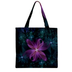 Pink And Turquoise Wedding Cremon Fractal Flowers Zipper Grocery Tote Bag by jayaprime