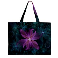 Pink And Turquoise Wedding Cremon Fractal Flowers Zipper Mini Tote Bag