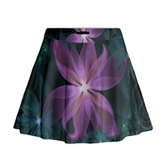 Pink And Turquoise Wedding Cremon Fractal Flowers Mini Flare Skirt by beautifulfractals