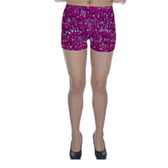 Glossy Abstract Pink Skinny Shorts by MoreColorsinLife