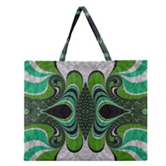 Fractal Art Green Pattern Design Zipper Large Tote Bag by BangZart