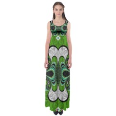 Fractal Art Green Pattern Design Empire Waist Maxi Dress