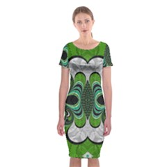 Fractal Art Green Pattern Design Classic Short Sleeve Midi Dress