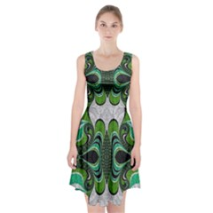 Fractal Art Green Pattern Design Racerback Midi Dress