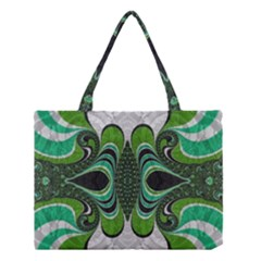 Fractal Art Green Pattern Design Medium Tote Bag by BangZart