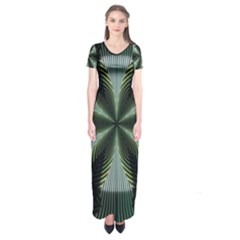 Lines Abstract Background Short Sleeve Maxi Dress