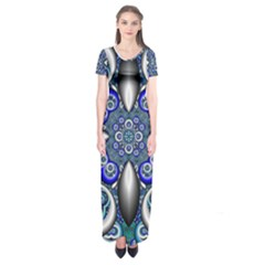 Fractal Cathedral Pattern Mosaic Short Sleeve Maxi Dress