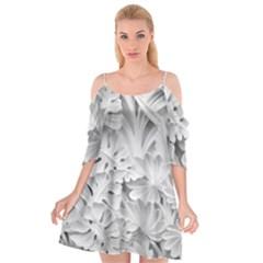 Pattern Motif Decor Cutout Spaghetti Strap Chiffon Dress