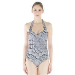 Pattern Motif Decor Halter Swimsuit