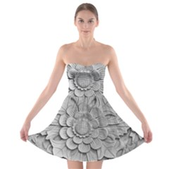 Pattern Motif Decor Strapless Bra Top Dress