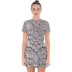 Pattern Motif Decor Drop Hem Mini Chiffon Dress