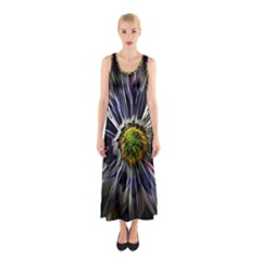 Flower Structure Photo Montage Sleeveless Maxi Dress