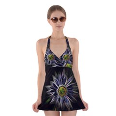 Flower Structure Photo Montage Halter Swimsuit Dress