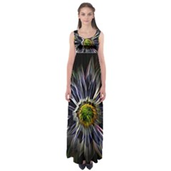 Flower Structure Photo Montage Empire Waist Maxi Dress