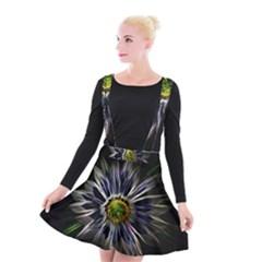 Flower Structure Photo Montage Suspender Skater Skirt