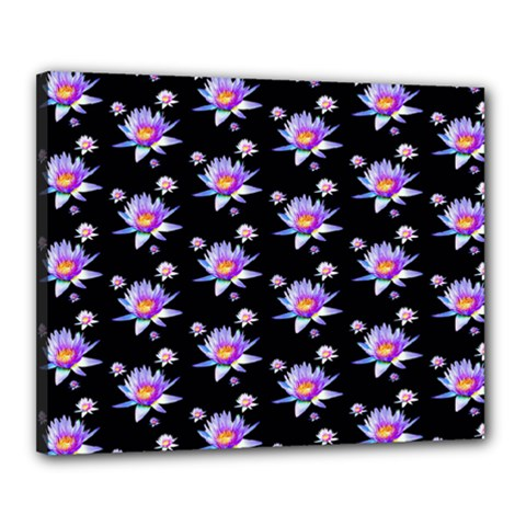 Flowers Pattern Background Lilac Canvas 20  X 16