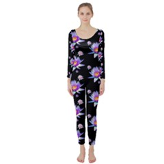 Flowers Pattern Background Lilac Long Sleeve Catsuit