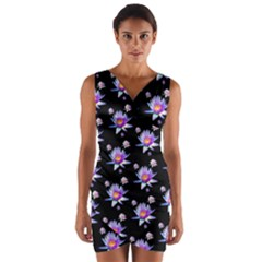Flowers Pattern Background Lilac Wrap Front Bodycon Dress