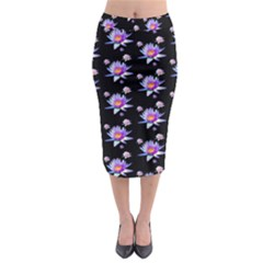 Flowers Pattern Background Lilac Midi Pencil Skirt