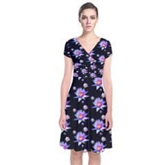 Flowers Pattern Background Lilac Short Sleeve Front Wrap Dress