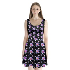 Flowers Pattern Background Lilac Split Back Mini Dress