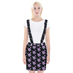 Flowers Pattern Background Lilac Braces Suspender Skirt by BangZart