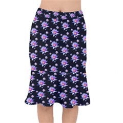 Flowers Pattern Background Lilac Mermaid Skirt