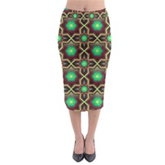 Pattern Background Bright Brown Midi Pencil Skirt