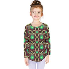 Pattern Background Bright Brown Kids  Long Sleeve Tee