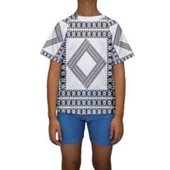 Pattern Background Texture Black Kids  Short Sleeve Swimwear