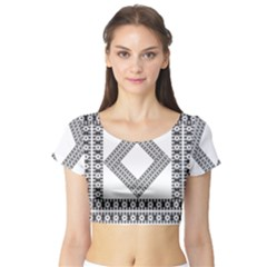 Pattern Background Texture Black Short Sleeve Crop Top (tight Fit)