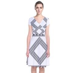 Pattern Background Texture Black Short Sleeve Front Wrap Dress