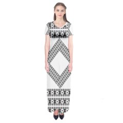 Pattern Background Texture Black Short Sleeve Maxi Dress