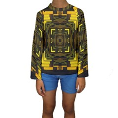 Abstract Glow Kaleidoscopic Light Kids  Long Sleeve Swimwear