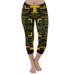 Abstract Glow Kaleidoscopic Light Capri Winter Leggings