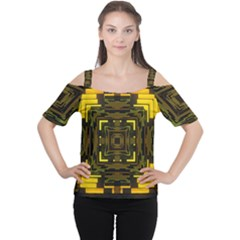Abstract Glow Kaleidoscopic Light Women s Cutout Shoulder Tee