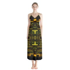 Abstract Glow Kaleidoscopic Light Button Up Chiffon Maxi Dress