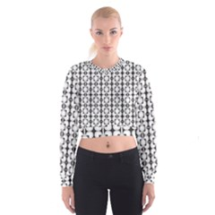 Pattern Background Texture Black Cropped Sweatshirt